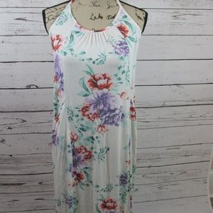 Women's Maxi dress cover up floral print knit